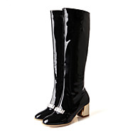 Women's Boots Fall / Winter Fashion Boots Patent Leather / Casual Chunky Heel Zipper Black / Red / White / Almond