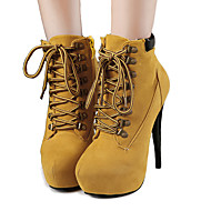 Feminino-Botas-Plataforma Conforto Inovador Botas de Neve Gladiador Botas da Moda-Salto Agulha Plataforma-Preto Marrom Rosa Vermelho-