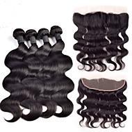 Trama do cabelo com Encerramento Cabelo Brasileiro Onda de Corpo 4 Peças tece cabelo