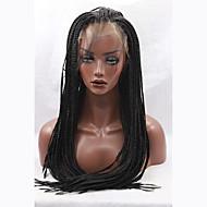 mode lange rechte vlechten synthetische lace front pruik glueless zwarte kleur vrouwen pruiken