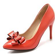 Feminino-Saltos-Conforto Inovador Plataforma Básica-Salto Agulha-Preto Vermelho Branco Bege Laranja-Sintético Couro Envernizado Courino-