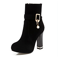 Women's Boots Spring / Fall / Winter Fashion Boots / Combat Boots Leatherette/ Casual Chunky Heel Pearl / BuckleBlack /