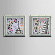 E-HOME® Framed Canvas Art, Architecture And Flowers Framed Canvas Print One Pcs