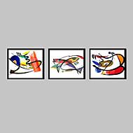 추상화 / 동물 프레임 캔버스 / 프레임 세트 벽 예술,PVC 블랙 매트 없음 프레임으로 벽 예술