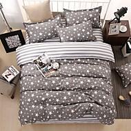 bedtoppings comforter edredão 4pcs colcha definir queen size folha plana fronha estrelas cinzentos imprime microfibra