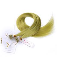 πράσινο χρώμα ευθεία μικρο βρόχο επεκτάσεις ανθρώπινα μαλλιών Βραζιλίας μικρο δαχτυλίδι βρόχο συνδέει επεκτάσεις ανθρώπινα μαλλιών
