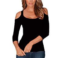 3/4 ærmelængde Rund hals Solid Kvinders Rosa / Hvid / Sort / Orange Ensfarvet Sommer / Efterår Simpel I-byen-tøj / Casual/hverdag T-shirt,