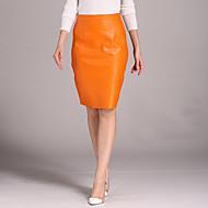 Women's Solid Black / Orange SkirtsStreet chic Knee-length