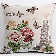 Linen Pillow Cover/Case ,  Woven Traditional/Classic Flower  Leaning Tower Feature
