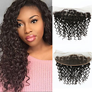 8A Mongolian Virgin Human Hair 13x4 Lace Frontal Closure With Baby Hair Kinky Curly Ear To Ear Lace Frontals