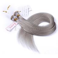 meilleur 10a micro liens annulaires de boucle de cheveux humains droite extensions de cheveux humains gris 1g / brin brésilien 8 pouces 28inch