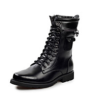 Kényelmes-Lapos-Női cipő-Csizmák-Alkalmi-Bőr-Fekete