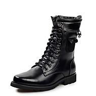 Herre-Lær-Flat hæl-Komfort-Støvler-Fritid-Svart