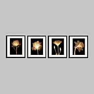 Цветочные мотивы/ботанический Холст в раме / Набор в раме Wall Art,ПВХ материал Черный Коврик входит в комплект с рамкой For Украшение