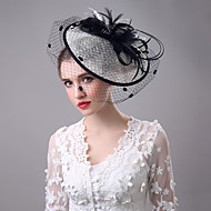 Women's Black Birdcage Veils Organza Headpiece-Wedding Tulle Net Fascinators with Lace Feather Hat