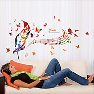 Music Feather Wall Stickers Creative DIY Sticker Bedroom Decorative Landscaping