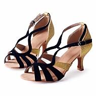 Obyčejné-Dámské-Taneční boty-Latina / Salsa-Samet / Třpytky-Nízký podpatek-Černá