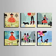 E-HOME® Stretched Canvas Art  Fashion Woman Series Decoration Painting MINI SIZE One Pcs