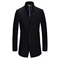 Nagy méretek Vintage Őszi / Téli-Férfi Kabát,Egyszínű V-alakú Hosszú ujj Kék / Fekete Gyapjú / Pamut / Poliészter Vastag