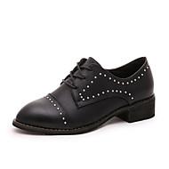 Women's Flats Fall / Winter Mary Jane / Combat Boots PU Casual Flat Heel Beading / Lace-up Black / Gray / Orange