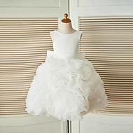 A-line Knee-length Flower Girl Dress - Organza / Satin Sleeveless Jewel with Sash / Ribbon