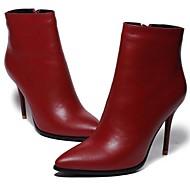 Damen Stiefel Leder Herbst Winter Stöckelabsatz Schwarz Rot 5 - 7 cm