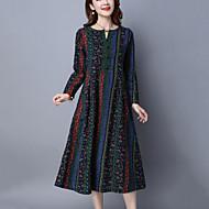 Feminino Solto Vestido,Casual Vintage Estampado Decote V Médio Manga Longa Azul / Vermelho Algodão / Linho Primavera / OutonoCintura