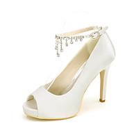Feminino-Saltos-Saltos / Peep Toe-Salto Agulha-Preto / Azul / Rosa / Roxo / Vermelho / Marfim / Branco / Prateado / Dourado / Champagne-
