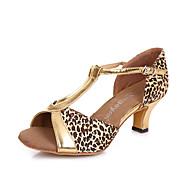 Sapatos de Dança(Preto / Dourado / Leopardo) -Feminino-Não Personalizável-Latina / Salsa