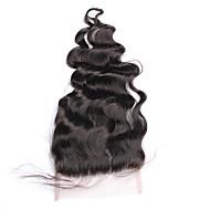"10""-18"" Noir Naturel (#1B) Tissée Main Ondulation Lâche Cheveux humains Fermeture Brun roux Dentelle Française 43g-45g gramme MoyenneCap"
