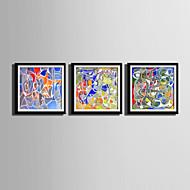 Φαντασία Καμβάς σε Κορνίζα / Σετ σε Κορνίζα Wall Art,PVC Μαύρο Περιλαμβάνεται Χάρτινο Φόντο με Πλαίσιο Wall Art