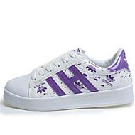 Women's Sneakers  Comfort Leatherette Outdoor / Athletic / Casual Flat Heel Lace-upBlack / Pink / Purple /