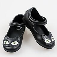 בנות-שטוחות-עור-להאיר נעליים-שחור אדום-יומיומי-עקב שטוח