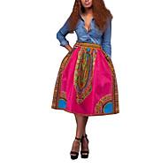 Women's Print Pink / Green / Orange SkirtsVintage Midi