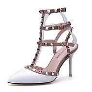 Sandaler-laklæder-Komfort-Dame-Sort Rød Hvid Grå Mørkerød-Fritid-Stilethæl