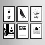 Slova & Citáty Kanvas v rámu / Set v rámu Wall Art,PVC Materiál Černá Bez pasparty s rámem For Home dekorace rám Art