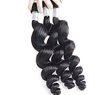 3Pcs/Lot 300g 26-32inch Brazilian Virgin Hair Loose Wave Natural Black Unprocessed Human Hair Weaves