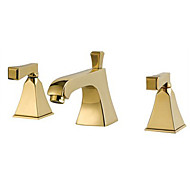Contemporary / Modern Widespread with  Ceramic Valve Two Handles Three Holes for  Ti-PVD  Bathtub Faucet Bathroom Sink