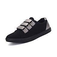 גברים-נעלי ספורט-בד-נוחות-שחור כסוף-שטח יומיומי-עקב שטוח