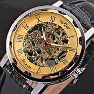 Herren Totenkopfuhr Armbanduhr Mechanische Uhr Mechanischer Handaufzug Transparentes Ziffernblatt PU Band Cool Schwarz Marke WINNER
