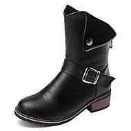 Γυναικεία παπούτσια-Μπότες-Φόρεμα-Χαμηλό Τακούνι-Μπότες Μηχανόβιου-Δερματίνη-Μαύρο Καφέ Μπεζ
