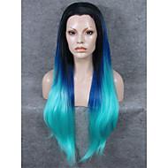 imstyle 30cheap sileä ylimääräinen pitkä suora pitsi peruukki synteettinen sininen ombre musta root