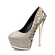 Women's Heels  Comfort / Round Toe / Closed Toe  Casual Stiletto Heel Rivet Black / Pink / Silver / Gold