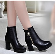 Women's Boots Fall Winter Leather Outdoor Chunky Heel Block Heel Zipper