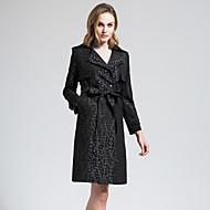 BORME Women's Shirt Collar Long Sleeve Trench Coat Black-Z830
