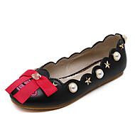 נשים-נעליים ללא שרוכים-עור-נוחות / חדשני / נעלי בובה (מרי ג'יין) / מעוגל-שחור / לבן-שטח / קז'ואל-עקב שטוח