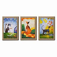 Ręcznie malowane Streszczenie / Ludzie / Kaprys / Portret abstrakcyjny Obrazy olejne,Nowoczesny Trzy panele PłótnoHang-Malowane obraz