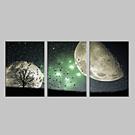 E-HOME® Stretched LED Canvas Print Art The Night Scene Flash Effect LED Flashing Optical Fiber Print Set of 3