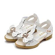Sandály-Kůže-Sandály-Dívčí-Růžová / Bílá-Šaty-Plochá podrážka