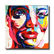 Maalattu Abstrakti / Ihmiset / Sarjakuva öljymaalauksia,Moderni 1 paneeli Kanvas Hang-Painted öljymaalaus For Kodinsisustus